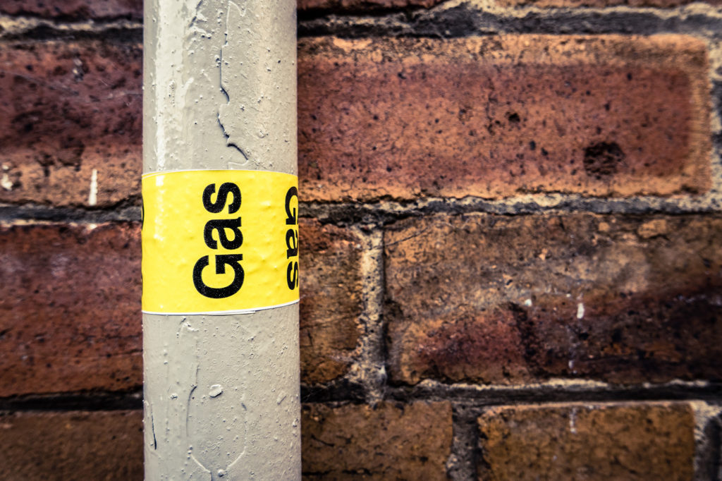 Gas pipe labelled
