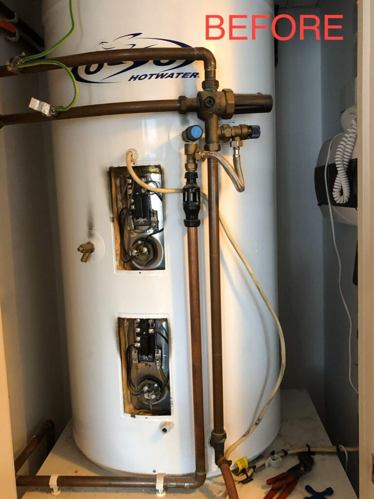 Faulty unvented cylinder causing damage to property