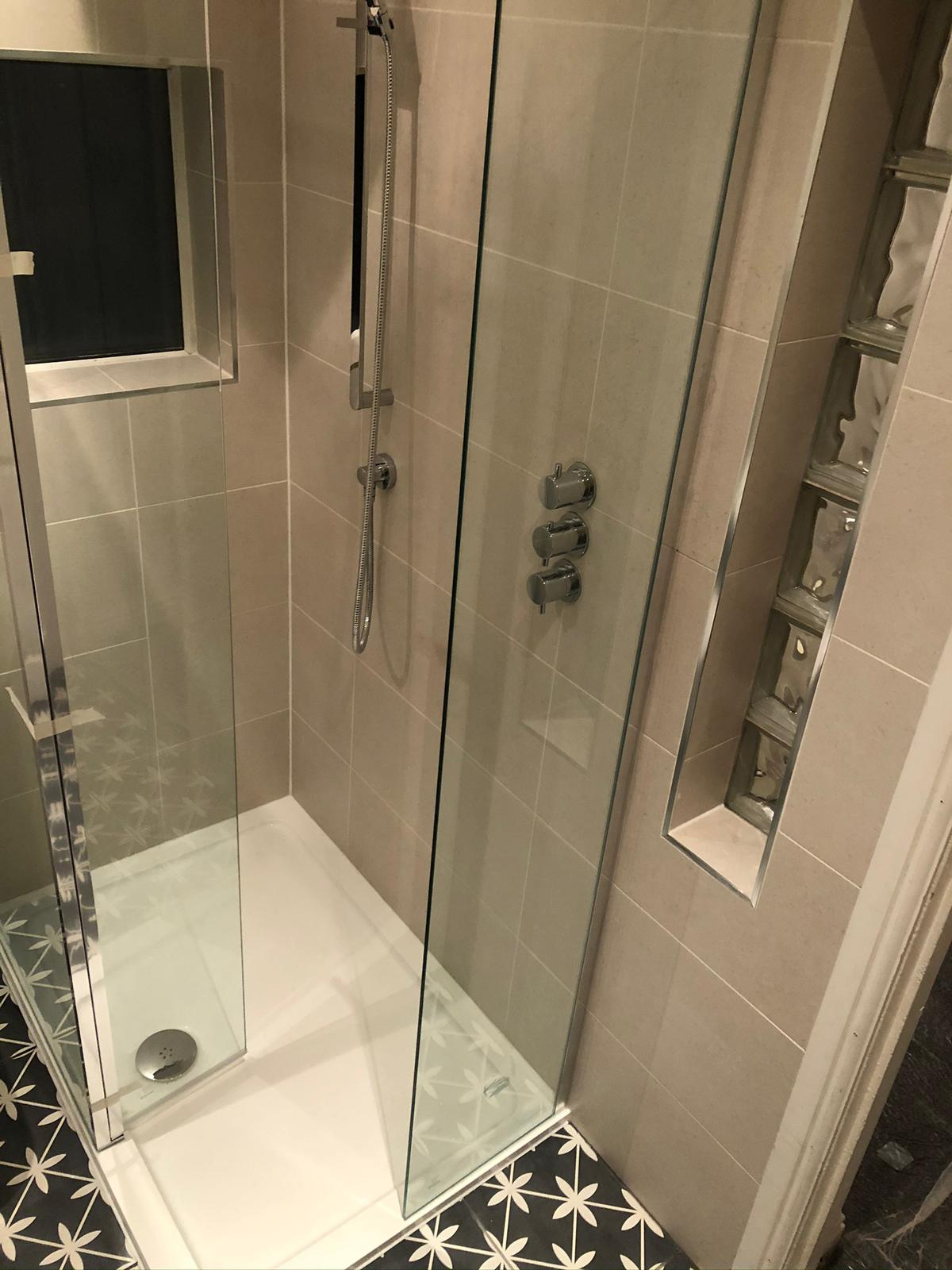 Bathroom renovation complete shower installation with concealed fittings and sanitary wear