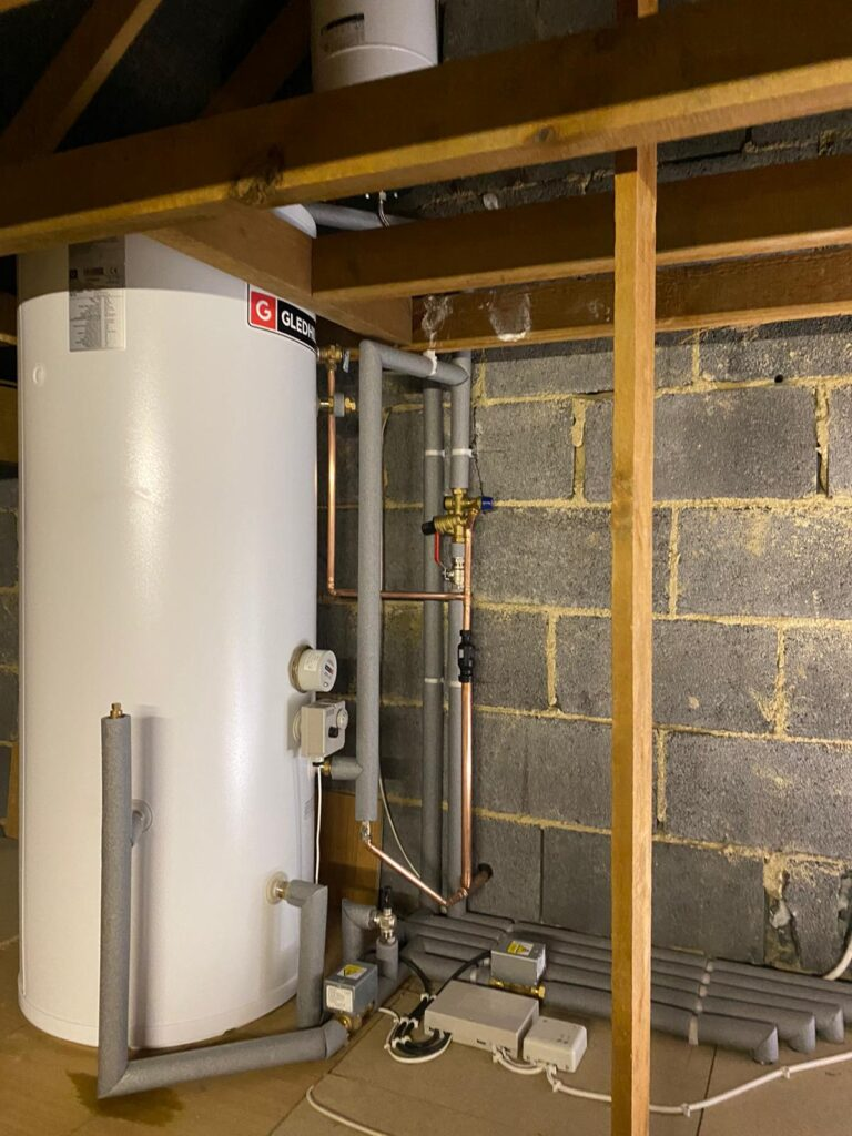 pipes foam protected, water supply, expansion vessel and safety discharge components and pipework for unvented hot water cylinder