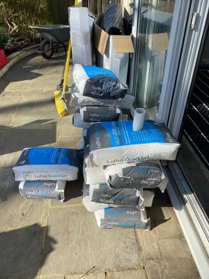 Nuheat LoPro Max stack of quick drying screed bags