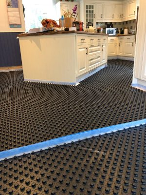 Installation of nu-heat underfloor heating panel matrix
