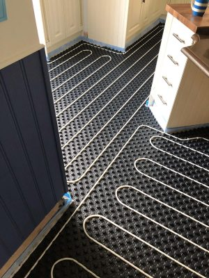 nu-heat underfloor heating matrix hold pipes in place in tight space in kitchen