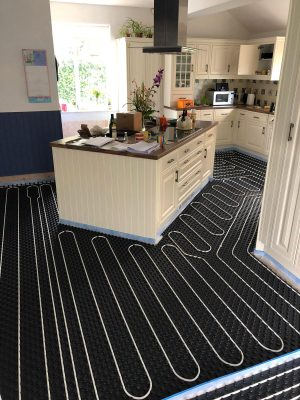nu-heat underfloor heating installation in renovated kitchen by Parkstone Yorkshire