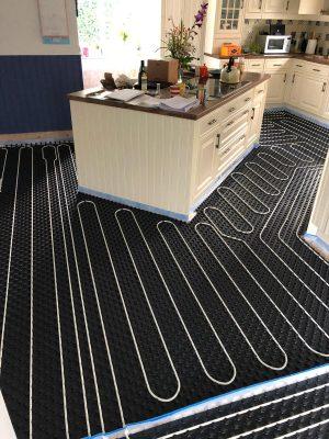 nu-heat underfloor heating pipework in kitchen prior to screed installation