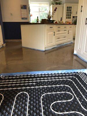 Kitchen nu-heat underfloor heating screed laid