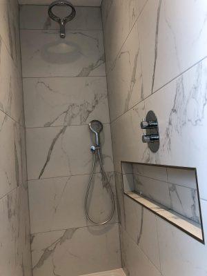 walk behind shower installation