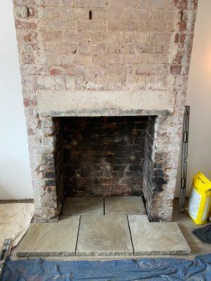 5 Yorkshire stone slabs used for chimney hearth for Aspect 8 Slimline SE Woodburning Stove