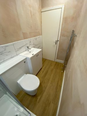 Narrow bathroom toilet and sink suite with storage