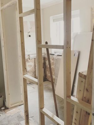 kitchen to bedroom conversion stud wall for new rooms
