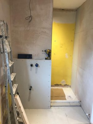 kitchen to bedroom conversion first fixt view of ensuite basin and shower entrance