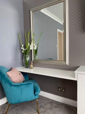 kitchen to bedroom conversion bedroom dressing table and luxury blue chair with large wall mirror