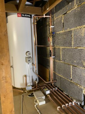 water supply, expansion vessel and safety discharge components and pipework for unvented hot water cylinder