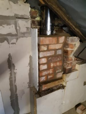 Dunsley Heat Advance 500 rebuild chimney in loft space and install stainless steel twin wall chimney to outside